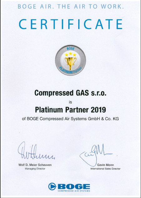 COMPRESSED GAS s.r.o.- BOGE platinum partner 2019